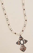 Southern Junkie Pearl Beaded and Bronze Cross Necklace