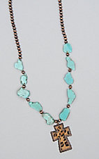 Ashlyn Rose Leopard Hide Cross Pedant Turquoise Necklace