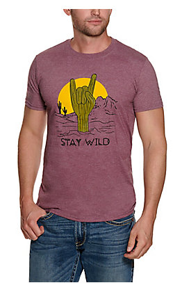 Men's Maroon Stay Wild Cactus Graphic Short Sleeve T-shirt