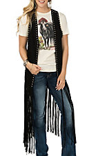 Crazy Train Women's Black Fringe Duster Vest