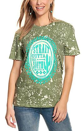 Crazy Train Women's Pine Green Bleach Print Short Sleeve T-Shirt