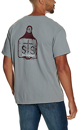 STS Ranchwear Men's Granite Grey Eartag Graphic Long Sleeve T-Shirt