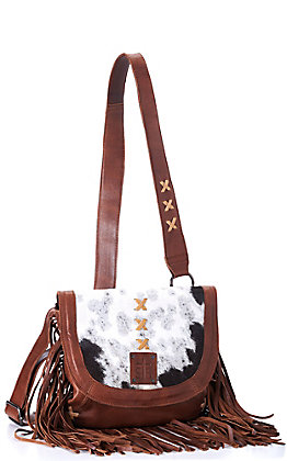 STS Ranchwear Daydreams Brown Cowhide with Fringe Crossbody Purse