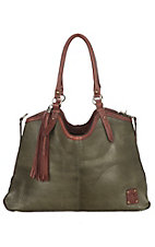 STS Ranchwear Olive and Urban Red Classic Hobo Handbag
