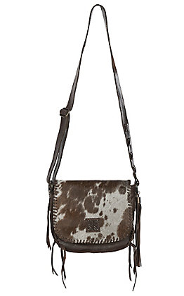 STS Ranchwear Selah's Saddle Brown and White Cowhide Crossbody Purse