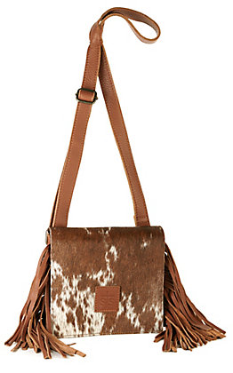 STS Ranchwear Miss Kitty Brown Leather and Cowhide with Fringe Crossbody Purse