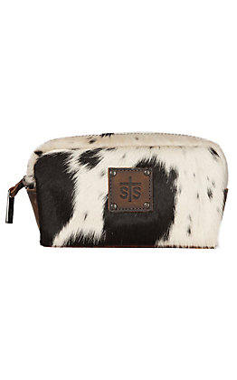 STS Ranchwear Black and White Cowhide Bebe Cosmetic Bag