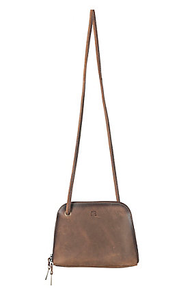 STS Ranchwear Distressed Brown Leather Baroness Crossbody Bag