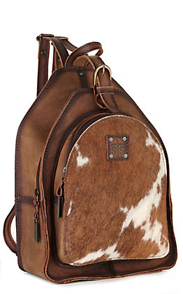 STS Ranchwear Baroness Brown Leather and Cowhide Backpack