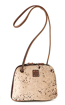 STS Ranchwear Baroness Brown Leather and Cowhide Conceal Carry Classic Crossbody Purse