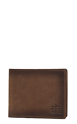 STS Ranchwear Foreman Collection Men's Distressed Brown Leather Bi-Fold Wallet