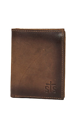 2340bc4a38c7fe STS Ranchwear Foreman Collection Men's Distressed Brown Leather Hidden Cash  Tri-Fold Wallet