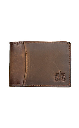 STS Men's Foreman Distressed Brown Leather Hidden Money Clip Bi-Fold Wallet
