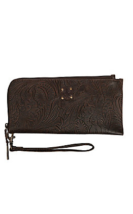 STS Ranchwear Brown Tooled Floral Clutch