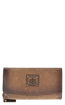STS Ranchwear Baroness Distressed Brown Leather Women's Trifold Wallet
