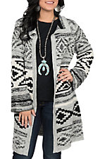Ethyl Women's Grey Aztec Striped Cardigan