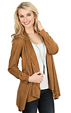 Fornia Women's Camel Faux Suede Long Sleeve Cardigan