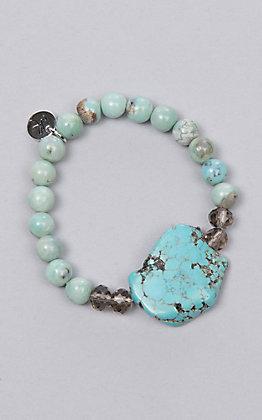 Laminin Blue Turquoise Beads with Turquoise Stone Pendent Bracelet