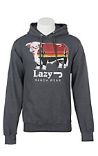 Lazy J Ranchwear Men's Heather Grey Logo Hoodie