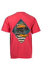 Back Down South Paprika with Surfer Logo Short Sleeve Pocket Tee SURFDOG