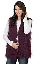Elan Women's Burgundy Shaggy Vest