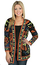 Flying Tomato Women's Black and Neon Multicolored Paisley Print Cardigan