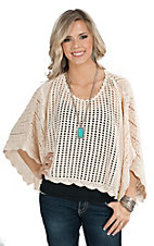 Flying Tomato Women's Ivory Crochet Poncho Fashion Top