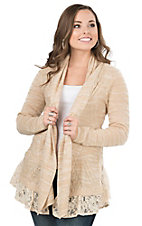 Flying Tomato Women's Beige with Lace Trim Long Sleeve Cardigan