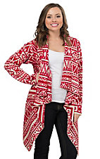Flying Tomato Women's Red and Ivory Multi Print Sweater Cardigan