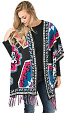 Flying Tomato Women's Black with Hot Pink & Blue Sweater Cardigan