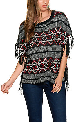 Flying Tomato Women's Black and Multicolor Fringed Short Sleeve Sweater