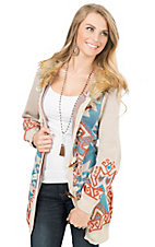 Flying Tomato Women's Beige with Aztec Print & Fur Hooded Sweater