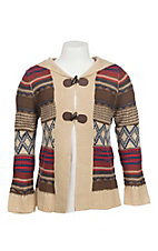 Flying Tomato Girl's Striped with Toggle Closures Long Sleeve Cardigan