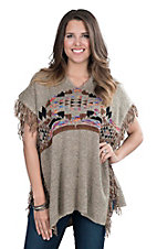 Elan Women's Taupe with Aztec Print and Fringe 1/2 Sleeve Poncho