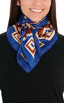 Blue & Bronze Southwest Silk Wild Rags Scarf