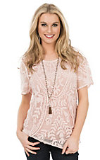 Ethyl Women's Peach Lace Short Sleeve Fashion Top
