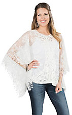 Ethyl Women's White Lace Poncho Fashion Top