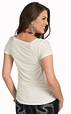 Mezzanine Women's White Rouche Back Top
