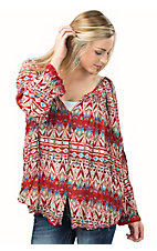 PPLA Women's Red Canyon Park Loose Fit Long Sleeve Peasant Top