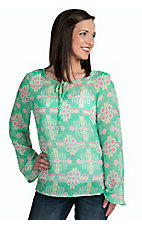 Mezzanine Women's Mint Aztec Print Top
