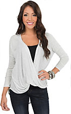 Mezzanine Women's Light Grey Draped Hi-Lo Long Sleeve Top