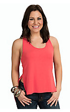 Mezzanine Women's Solid Coral Razor Back Top