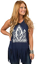 Mezzanine Navy Cactus and Feathers Sleeveless Fringe Casual Knit Tank Top