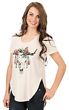 Mezzanine Women's Cream Skull with Roses Hi-Lo Short Sleeve Casual Knit Top