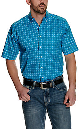 Panhandle Tuf Cooper Performance Men's Turquoise Medallion Print Short Sleeve Western Shirt