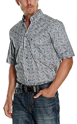 Panhandle Tuf Cooper Performance Men's White with Black & Blue Paisley Print Short Sleeve Western Shirt