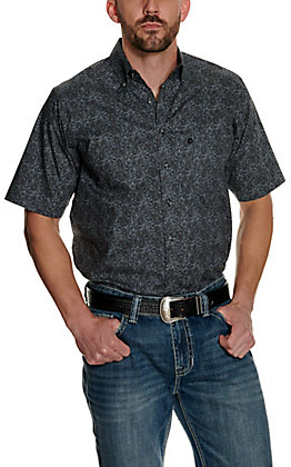 Panhandle Tuf Cooper Performance Men's Grey with Black Print Short Sleeve Western Shirt