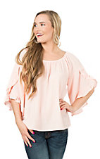 Peach Love CA Women's Blush with Ruffle Sleeve Fashion Top