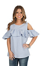 Peach Love Women's Light Blue Cold Shoulder Ruffle Fashion Top