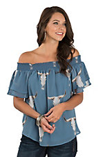 Fantastic Fawn Dusty Blue Skull Print Off-The-Shoulder Fashion Top